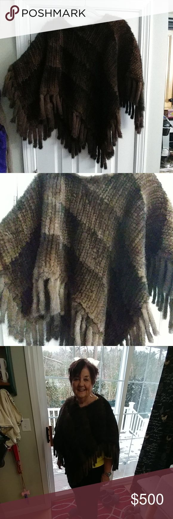 Mink poncho gorgeous offers welcomed😜 Worn 2 times like new payed over 1000 for it selling it at a great price.. All mink! Bought at Michelle's furier. Any questions please please ask one size fits all colors are rich browns. Offers are welcomed Jackets & Coats Capes