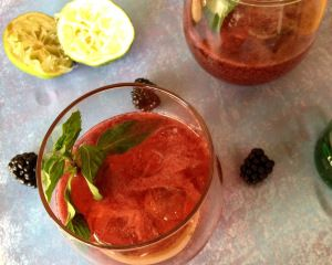 Blackberry Gin Fizz Sub St. Germain for sugar