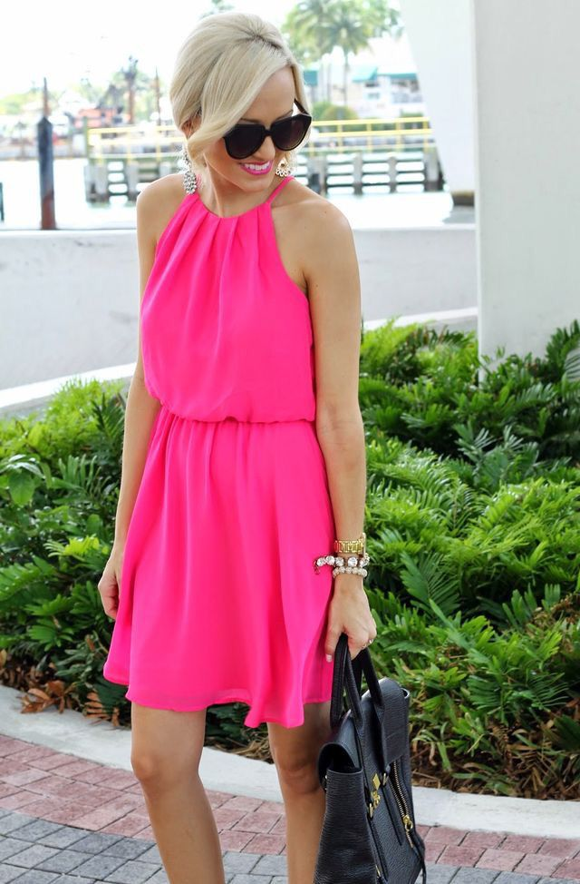 Pink dress.