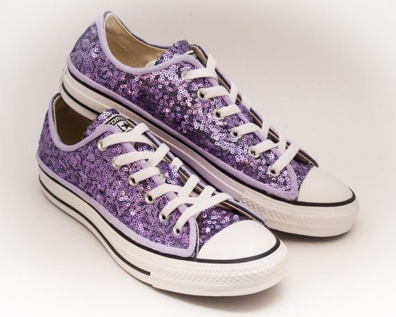 Sequin Lavender Purple Converse Low Top Canvas by princesspumps