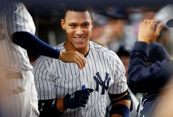 Aaron Judge hits monster home runs, but he's a humble giant Updated May 6, 2017 7:53 PM - Aaron Judge of the New York Yankees celebrates his fifth-inning home run against the Baltimore Orioles at Yankee Stadium on Friday, April 28, 2017. Photo Credit: Jim McIsaac