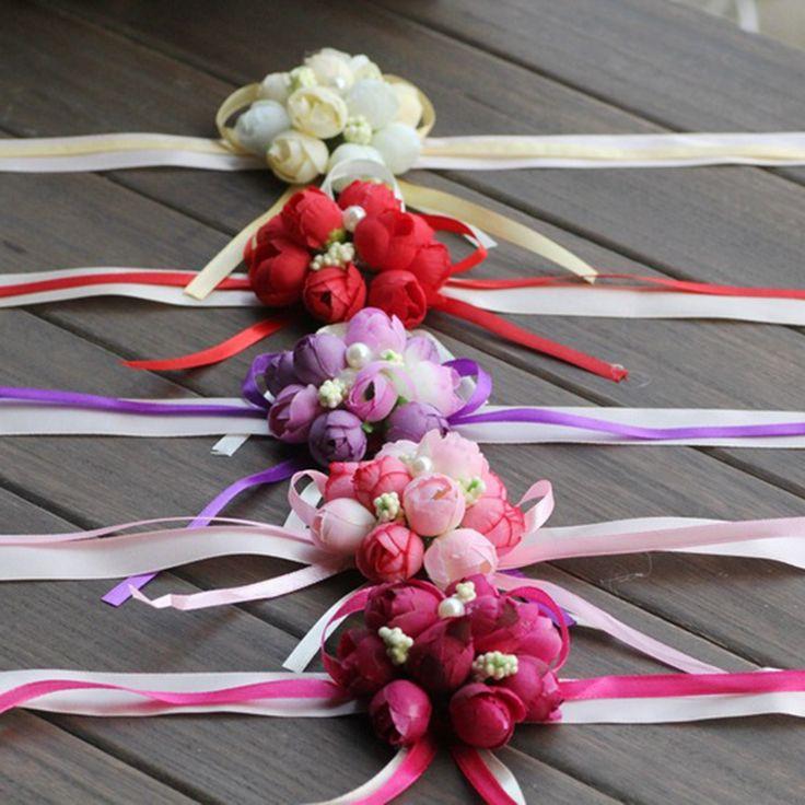 Bruiloft Ornamenten Zijde Bridal Bruidsmeisje Handgemaakte Boeket Hand Bloemen Pols Corsages 5 Kleur 1 stks