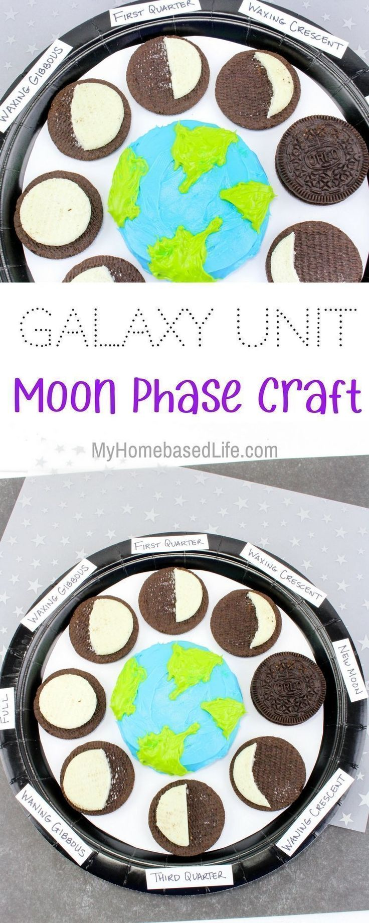 Galaxy Unit: Moon Phases Learning Craft. A great fun way to teach children the moon phases that is edible too! Print your free educational worksheets that go along with this kids activity. | #homeschoolworksheets | #kidsactivity | #kidscraft | Kids Craft | Kids Activity | Kids Science Lesson | Homeschool Activity | Homeschool Worksheets | Solar System Activity | Moon Phases Craft for kids | via @myhomebasedlife