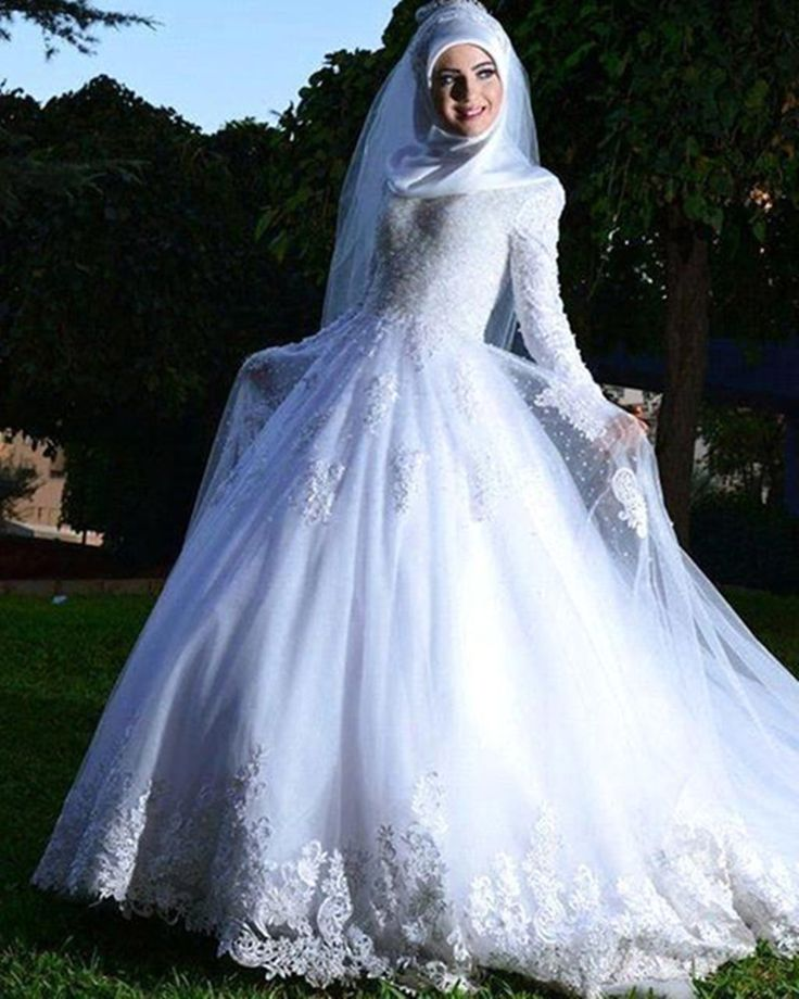 >> Click to Buy << Long Sleeve Arabic Bridal Wedding Dress With Free Hajab High Quality Embroidered A Line Wedding Dress With Detachable Train #Affiliate