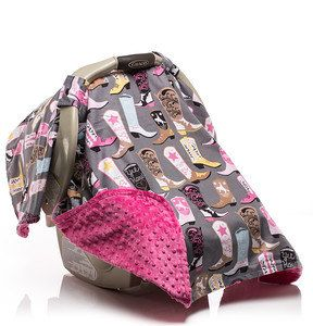 Girls Western Cowgirl Boot Carseat Canopy with Designer Cotton and Cuddle Dimple Minky on underside by Elonka Nichole Designs $45.00 www.elonkanichole.com
