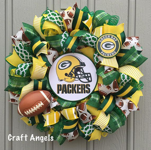 Green Bay Packers Wreath Packers Football Wreath Packers Deco Mesh Wreath Sports Wreath Nfl Green Bay Packers Wreath Packers Wreath Green Bay Packers Decor