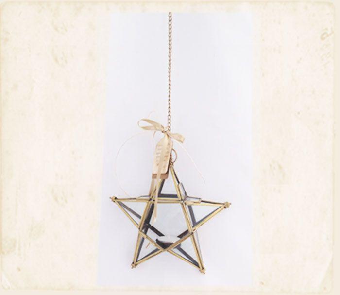 Farol de estrella:  Luz que brilla dentro de ti,ilumina cada díay llena tus días de inmensa alegría.   Farol en vidrio con vela 20 cm.
