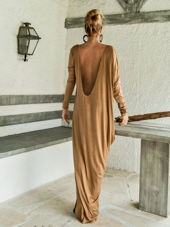 Camel Taupe Maxi Dress Kaftan with Nude See-Through Detail / Asymmetric Open Back Dress / Oversize Loose Dress / #35078  This elegant, sophisticated, loose and comfortable maxi dress, looks as stunning with a pair of heels as it does with flats. You can wear it for a special occasion or it can be your comfortable dress. - Handmade item  - Materials : viscose, transparent elastic tulle with 100% transparency   * Viscose is a very soft stretch fabric, thin, comfortable and it drapes…