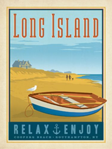 Long Island: Row Boat - Anderson Design Group has created an award-winning series of classic travel posters that celebrates the history and charm of America's greatest cities and national parks. Founder Joel Anderson directs a team of talented Nashville-based artists to keep the collection growing. This print celebrates the peaceful charm of Long Island's ocean front.