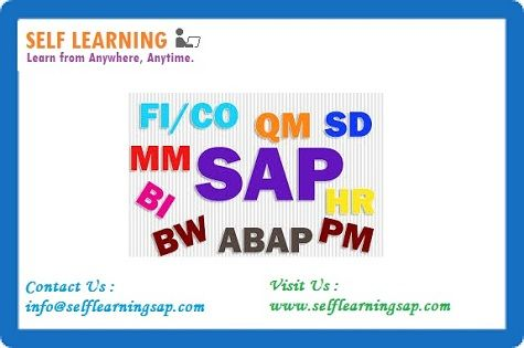 Learn SAP Courses Videos  are Available  in self Learning Center . We have the training solutions for the modules like SAP SD, CRM,  MM,  ABAP,  FICO,  APO, WM, EWM, BO 4.1, HANA , ABAP Webdynpro & OOPs.  For the information on the courses we have,, please contact us at  Email: info@selflearningsap.com Any Course Details : www.selflearningsap.com