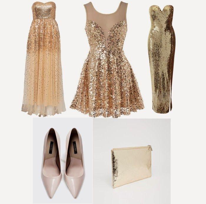 Looks de Noche Vieja con vestido dorado  Gold dress party