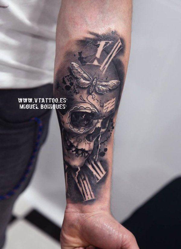 Tatuagem de Caveira Mexicana |  realista no braço