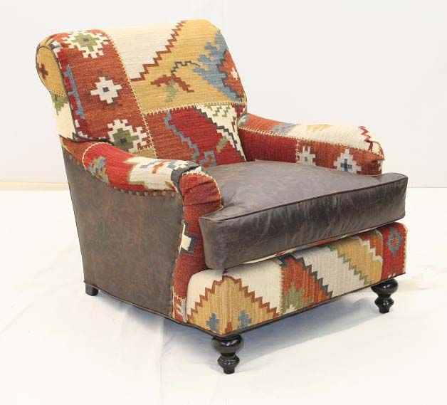 Wolf Creek Club Chair Western Accent Chairs   Colorful Club Chair In Boldly  Patterned Rug.