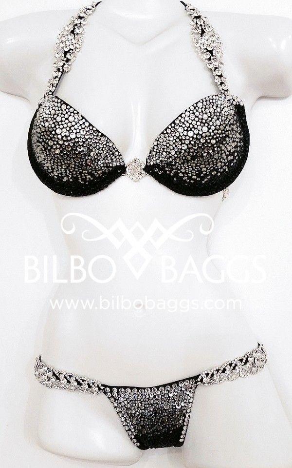 Black Ombre WBFF Competition Bikini  Bilbo Baggs