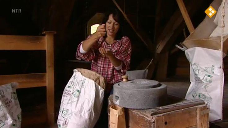 Thema: Voedsel. Mylène heeft brood voor haar ontbijt vergeten. Ze gaat zelf tarwe malen en brood bakken. Jurre laat zien wat we maken van andere graansoorten. Prof. Dr. Testkees: boot