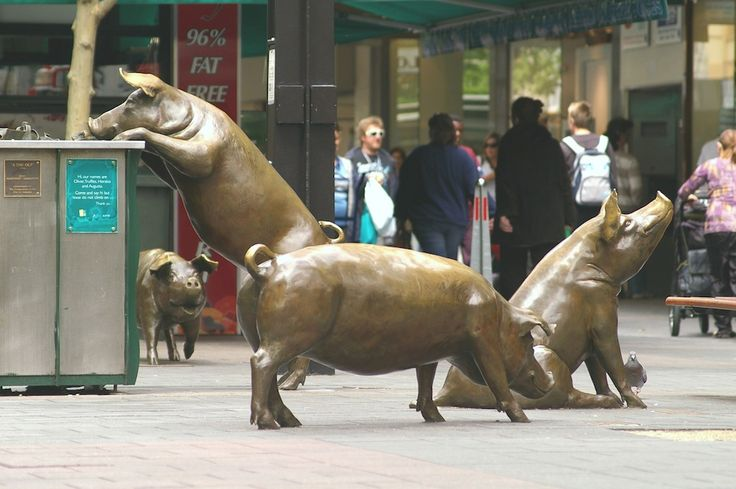 These pig sculptures are in Adelaides' Rundle Mall, South Australia - and they all have names (displayed on a plaque).