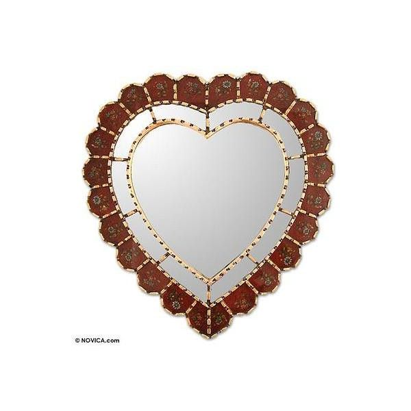 NOVICA Glass Reverse Painted Heart Wall Mirror ($76) ❤ liked on Polyvore featuring home, home decor, mirrors, frames & background, red, wall decor, glass flower stems, handmade home decor, red mirror and glass wall mirror