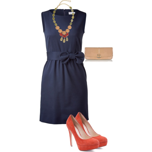 My Polyvore creation 4: navy and coral