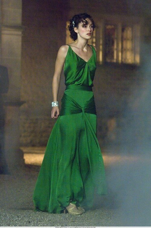 Keira Knightley Green Vintage Evening Dress in Movie Atonement