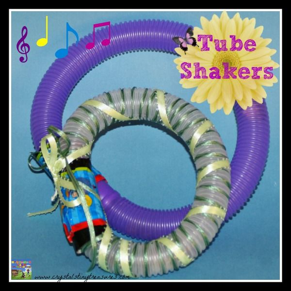 Plastic Hose Shakers and whirlers.  So much fun for kids, and recycled to boot!