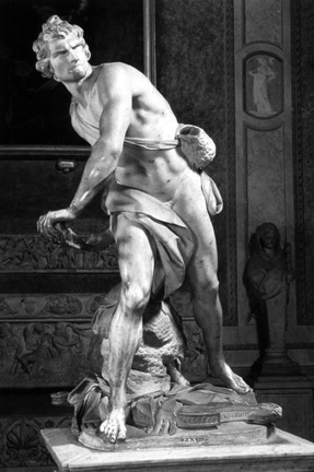 ~Bernini~  David - 1623-24 Dramatic, violent, split second action. Viewer looks on at diff angles. (theatrical emotion) Bernini's face?!