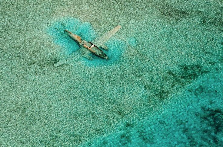 Crashed aircraftnear Norman's Cay Exumas Bahamas