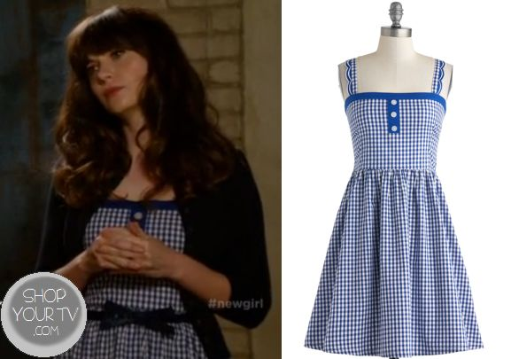 Jess Day (Zooey Deschanel) wears this sleeveless blue checkered gingham dress in this week's episode of New Girl. It is the ModCloth Blueberry Picking Dress. Sold out. All outfits from New GirlOther Outfits from New Girl Season 3 Episode 10Jessica … Continue reading →