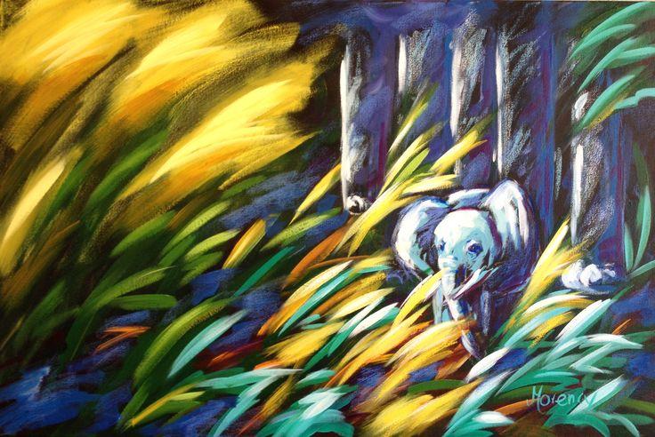 Parmi les grands, acrylique sur toile de l'artiste Christine Morency
