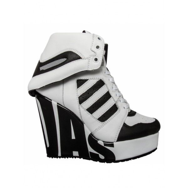 Jeremy Scott for Adidas | Streetball Platform Logo Wedge White/Black |... ($185) ❤ liked on Polyvore featuring shoes
