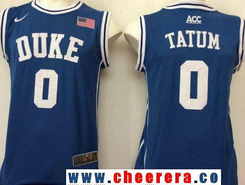 Men's Duke Blue Devils #0 Jayson Tatum Royal Blue Round Collar College Basketball Stitched Nike Swingman Jersey