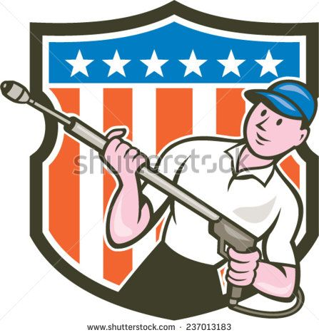 Illustration of a male pressure washing cleaner worker holding a water blaster viewed from front set inside shield crest with usa american stars and stripes in the background done in cartoon style. #pressurewashing #laborday #cartoon #illustration