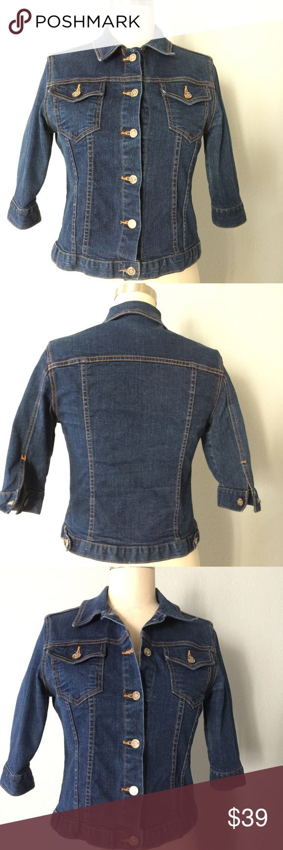 Jean jacket Great vean top, wear it as a little jacket or a regular top. 💯 soft cotton, 2 front button pockets, 3/4 sleeves with button closures, button down front. Perfect for fall 🙌🏼 juniors Large or a woman's size 6 ✅ will bundle 👌🏼✅🚭 ✅ all reasonable offers will be considered 👍🏼 🚫No Trading 🙅🏻 Poshmark rules only‼️ 📝Measurements taken laying flat Ⓜ️ Chest 18 Ⓜ️ Length 20 nine planet jeans  Jackets & Coats Jean Jackets
