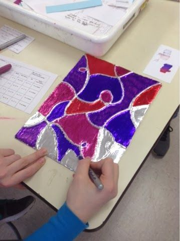 Art at Becker Middle School: Tin Foil Line Relief