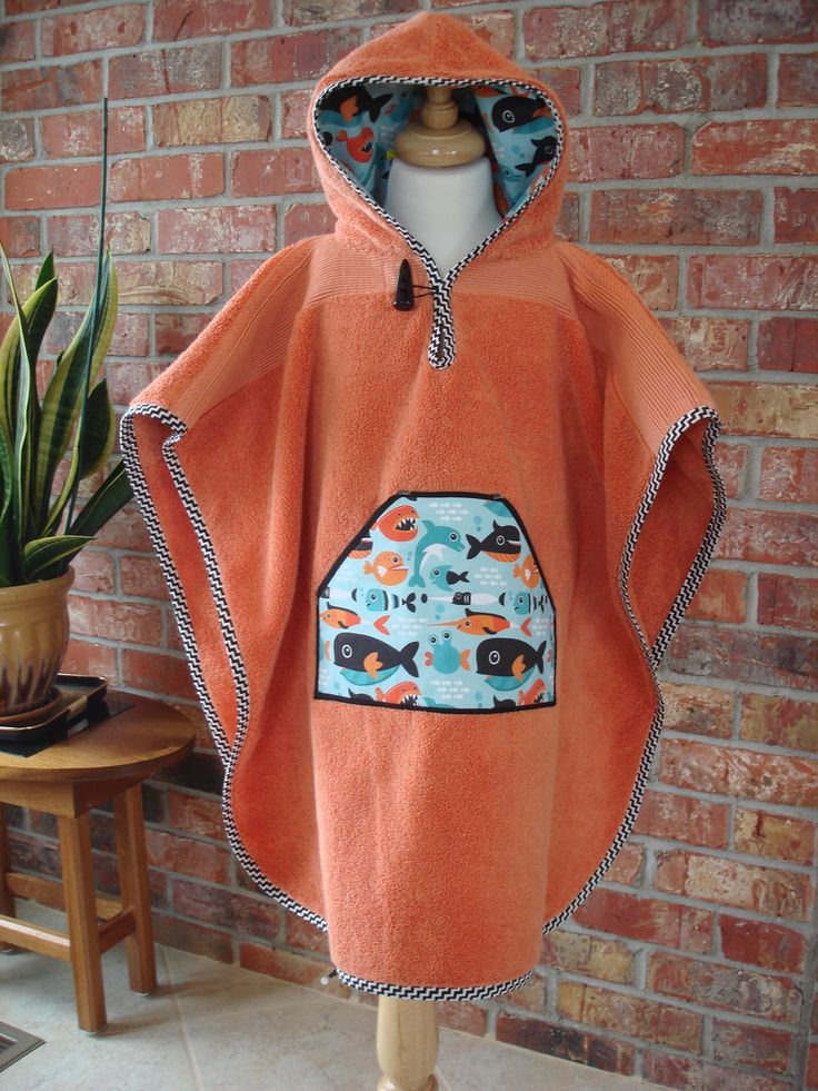 hood towel poncho for toddler's use at bath or beach