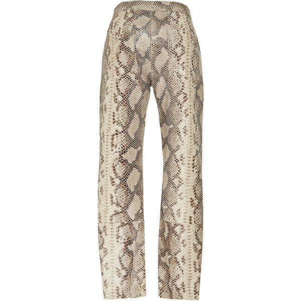 Zeynep Arcay Snake Print Leather Pants (€2.050) ❤ liked on Polyvore featuring pants, leather pants, white trousers, snakeskin print pants, slit pants and leather trousers