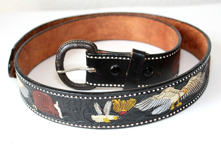 Vintage Genuine Black Leather Tooled Belt ~ Western Cowboy ~ Eagles MEXICO ~ 40 #Mexico #Western