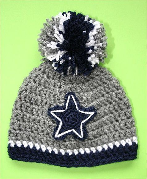 Dallas Cowboys Crocheted Hat - Baby girl boy Cap Beanie Photo Prop 14""