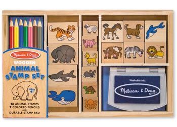 Melissa & Doug Animal Stamp Set Mix and match the detailed stamps with images of wild and domestic animals from land and sea, to create hundreds of beautiful scenes. All the pieces, including 16 stamps, 7 coloured pencils and a durable inkpad, store in the sturdy wooden box. Include washable, non-toxic kid-friendly ink. $32 and in stock For more information/purchase follow this link http://www.shellstreasures.com.au/#!product/prd1/1215347671/melissa-%26-doug-animal-stamp-set