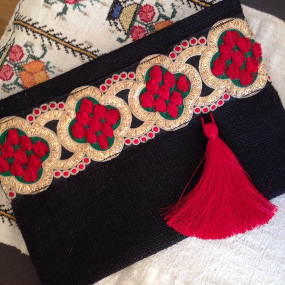 Red Black Clutch, Black Evening Clutch, Bohemian clutch, Womens bag, Gift for…