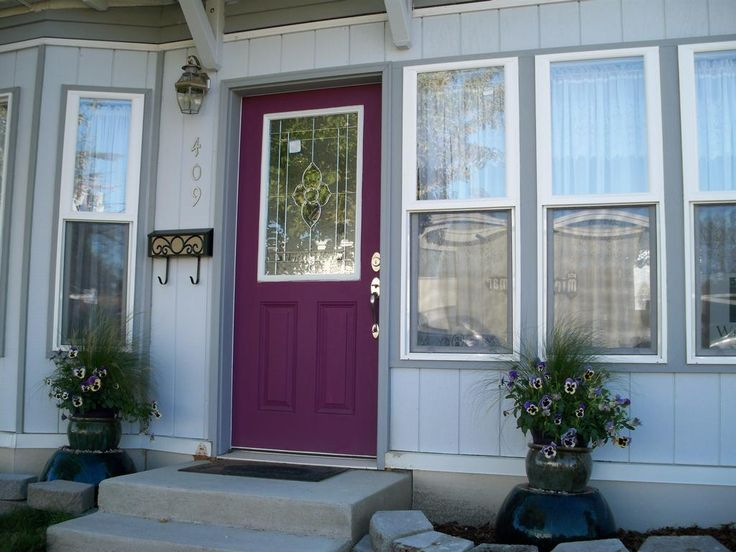 Purple front door grey house google search exterior paint pinterest purple front doors - Purple exterior paint image ...