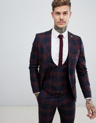 9117519a68fbd6 Twisted Tailor super skinny suit jacket in burgundy check in 2019 ...