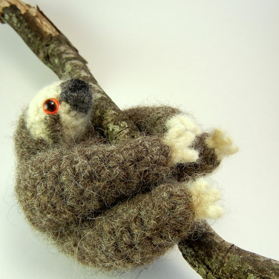 Three Toe Sloth Plush Toy Wool by MillieFern (on Etsy).