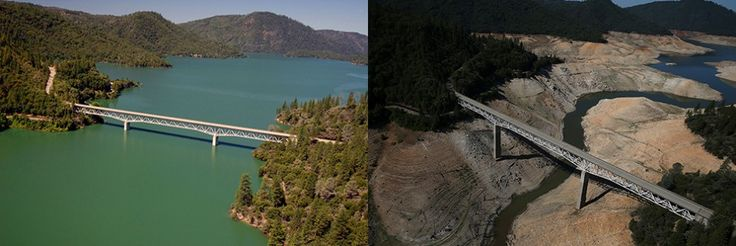 Lake Oroville - California drought-  water levels and bridge 2011 & 2014