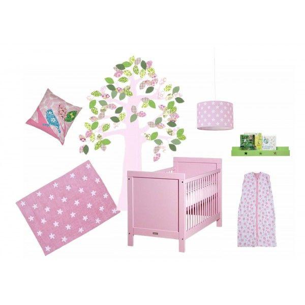Moodboard per cameretta rosa con il lettino Bopita Mix & Match Rosa