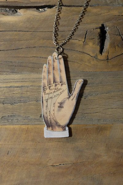Palmistry palm reading fortune teller by Little Rat´s Boutique. #handmade #diy #jewellery #jewelry #vintage #etsy #statementnecklace #palmistry #fortuneteller #vintageillustration