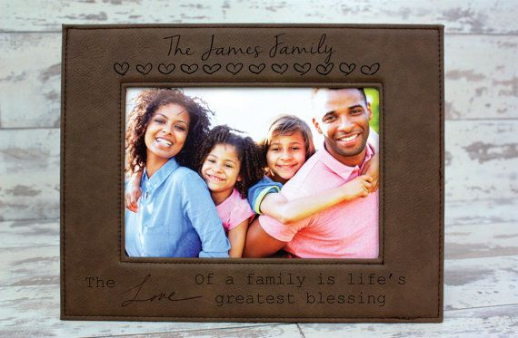 Personalized Family Picture Frame Leather Engraved by HudsonLace