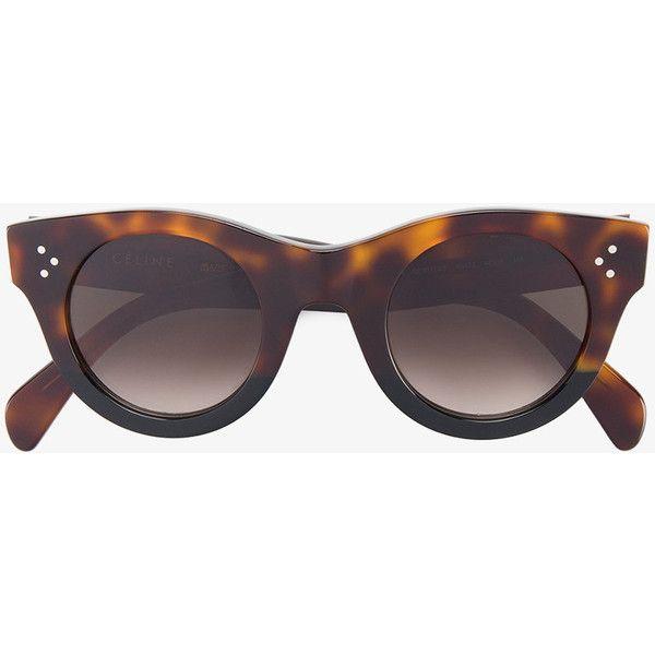 d97e9f4eb743 Céline Eyewear Tortoiseshell Baby Audrey Sunglasses (1.080 BRL) ❤ liked on Polyvore  featuring accessories