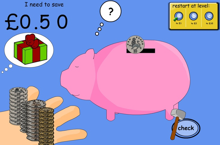 """Pupils practise adding coins to reach an amount and finding the difference along the way. Add coins and stop to check 'how much so far?' so that pupils must find the difference. Use """"try again"""" to find other coin combinations to the total. (Prices are in multiples of 10.)"""