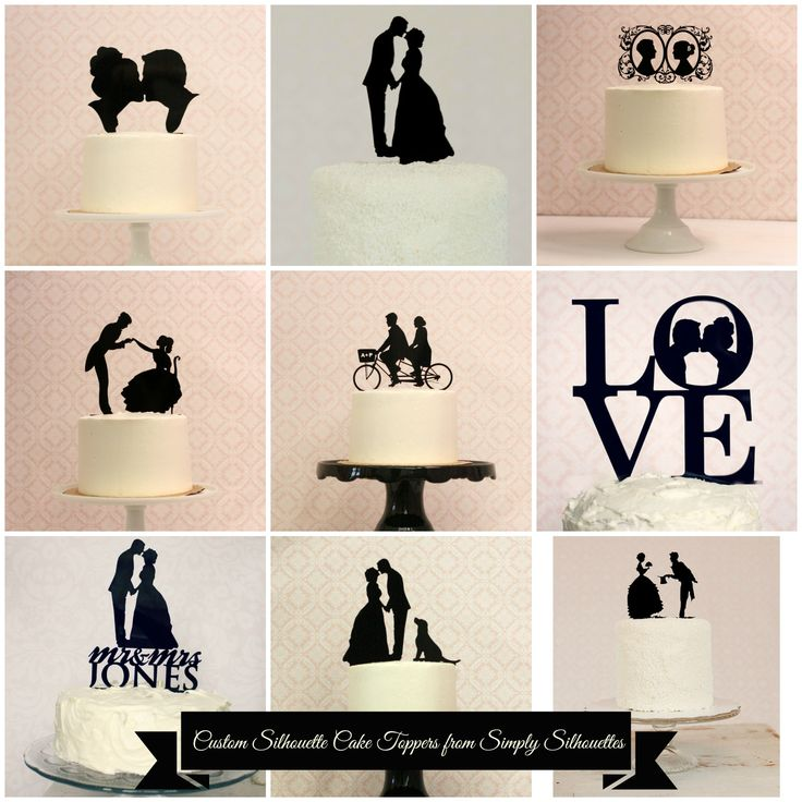 Simply Silhouettes can create a custom wedding cake topper for your special day with YOUR silhouettes at http://www.silhouetteweddings.etsy.com