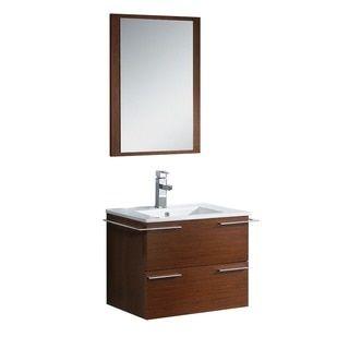 Fresca Cielo 24-inch Wenge Brown Modern Bathroom Vanity with Mirror $1,028